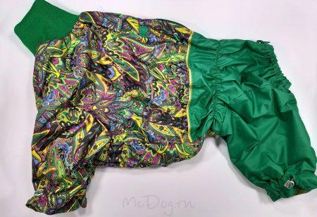 """Комбинезон для собак McDog """"Павлин с зеленым"""". Осень-весна."""