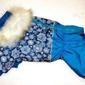 Зимний комбинезон McDog «Голубые снежинки с бирюзой»
