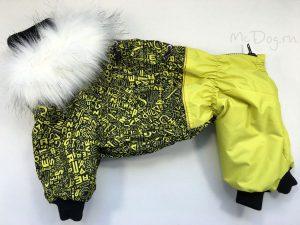 Зимний комбинезон McDog «Алфавит с желтым» с меховым воротником