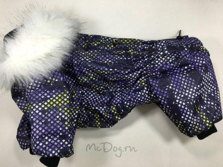"""Зимний мембранный комбинезон McDog """"Фиолетовые пиксели"""" для собак"""