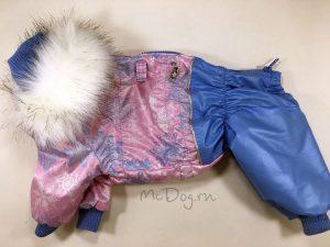 Зимний комбинезон McDog «Розовые снежинки» с меховым воротником