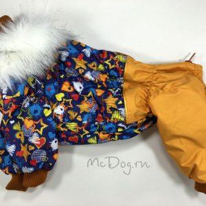 """Зимний комбинезон McDog """"Синие звезды с хурмой"""" для собак"""