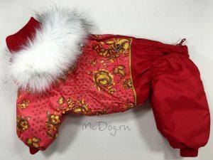 """Зимний комбинезон для собак McDog """"Красная роспись"""""""