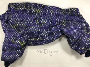 Зимний мембранный комбинезон McDog «Пиксели фиолетовые» на кнопке
