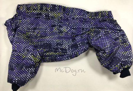 """Зимний комбинезон для собак McDog """"Пиксели фиолетовые"""" на кнопке мембранный"""