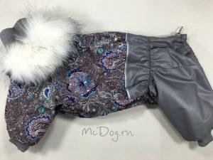 Зимний комбинезон McDog «Серые огурцы» с меховым воротником