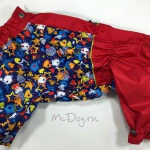 """Комбинезон McDog для собак """"Синие звезды с красным"""" на кнопке"""