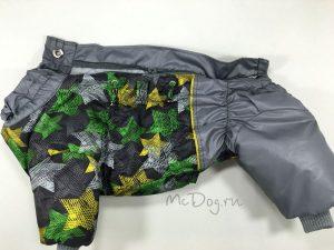 """Зимний комбинезон для собак McDog """"Зеленые звезды с серым"""" на кнопке"""