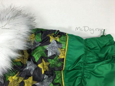 """Зимний комбинезон для собак McDog """"Зеленые звезды с зеленым"""""""