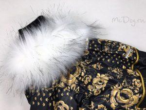 Зимний комбинезон McDog «Золотая роспись с черным» с меховым воротником