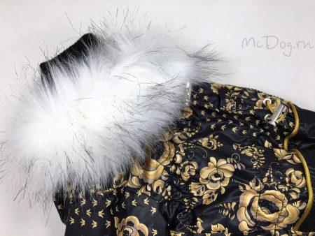 """Зимний комбинезон для собак McDog """"Золотая роспись с черным"""""""