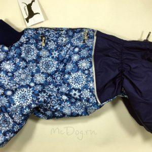 Зимний комбинезон McDog «Голубые снежинки с синим» без мехового воротника