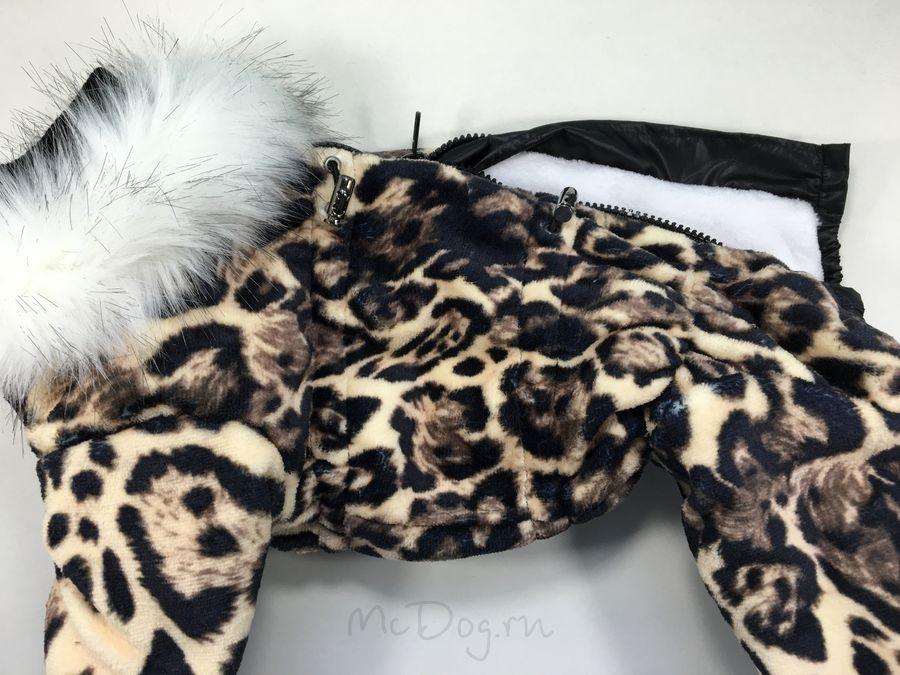 Зимний флисовый комбинезон McDog «Леопард» с меховым воротником