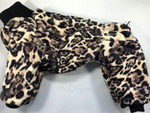 Зимний флисовый комбинезон McDog «Леопард» без мехового воротника