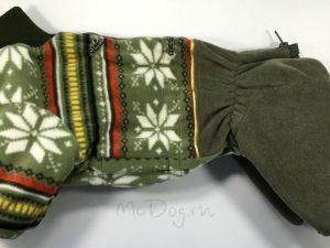 Зимний флисовый комбинезон McDog «Зеленые снежинки» без мехового воротника