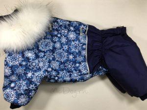 Зимний комбинезон McDog «Голубые снежинки с синим» с меховым воротником
