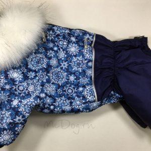 Зимний комбинезон McDog «Голубые снежинки с синим»