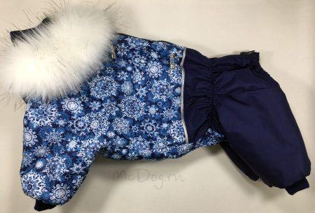 """Зимний комбинезон для собак McDog """"Голубые снежинки с синим"""""""