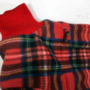 Зимний флисовый комбинезон McDog «Красная клетка» без мехового воротника