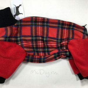 Комбинезон флисовый McDog «Красная клетка с красным»