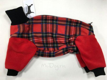 """Комбинезон для собак флисовый McDog """"Красная клетка с красным"""""""