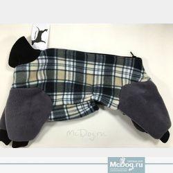 """Комбинезон для собак флисовый McDog """"Серая клетка с серым"""""""