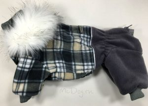 """Зимний флисовый комбинезон для собак McDog """"Серая клетка с серым"""""""