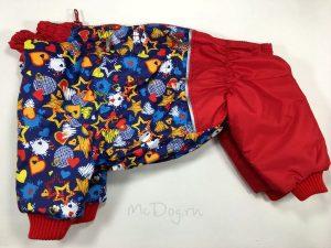 """Зимний комбинезон для собак McDog """"Синие звезды с красным"""" на кнопке"""