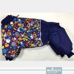 """Зимний комбинезон для собак McDog """"Синие звезды с синим"""" на кнопке"""