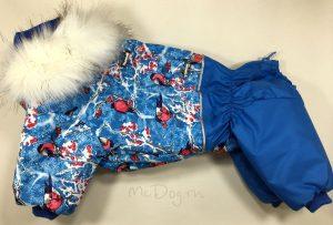 """Зимний комбинезон для собак McDog """"Снегири с голубым"""""""