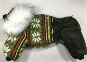 """Зимний флисовый комбинезон для собак McDog """"Зеленые снежинки"""""""