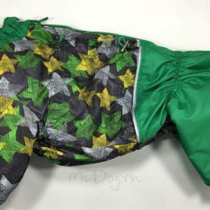 Зимний комбинезон McDog «Зеленые звезды с зеленым» на кнопке