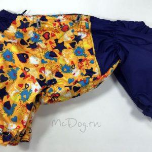 Комбинезон McDog «Желтые звезды с синим» на кнопке