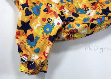 """Комбинезон для собак """"Желтые звезды с синим"""". Осень-весна."""