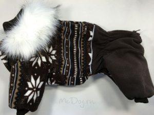 Зимний флисовый комбинезон McDog «Коричневые снежинки» с меховым воротником