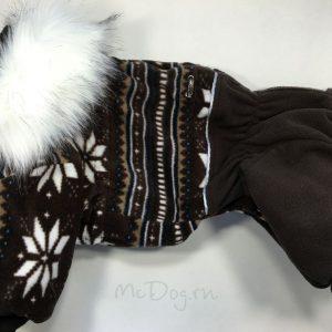 Зимний флисовый комбинезон McDog «Коричневые снежинки»