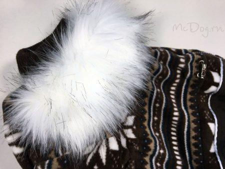 """Зимний флисовый комбинезон для собак McDog """"Коричневые снежинки"""""""