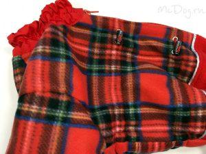 Зимний флисовый комбинезон McDog «Красная клетка с красным» на кнопке