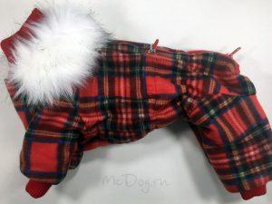 Зимний флисовый комбинезон McDog «Красная клетка»