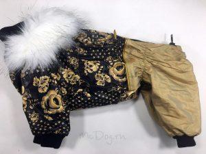 Зимний комбинезон McDog «Золотая роспись с золотым» с меховым воротником