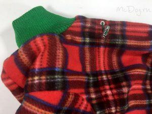 Зимний флисовый комбинезон McDog «Красная клетка с зеленым» без мехового воротника