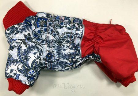 """Зимний комбинезон для собак McDog """"Зимние цветы с красным"""""""