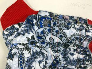 Зимний комбинезон McDog «Зимние цветы с красным» без мехового воротника