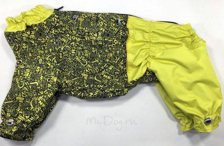 """Комбинезон для собак """"Алфавит с желтым"""". Осень-весна."""