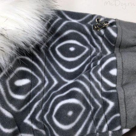 """Зимний флисовый комбинезон для собак """"Серая волна с серым"""""""