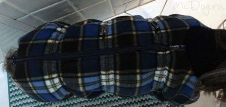 """Зимний флисовый комбинезон для собак McDog """"Синяя клетка"""""""