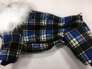 Зимний флисовый комбинезон McDog «Синяя клетка» с меховым воротником