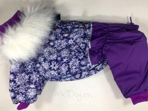 Зимний комбинезон McDog «Фиолетовые снежинки с сиреневым» с меховым воротником
