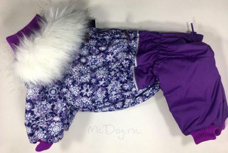 """Зимний комбинезон для собак McDog """"Фиолетовые снежинки с сиреневым"""""""
