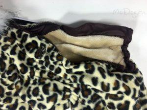 Зимний флисовый комбинезон McDog «Леопард желтый» с меховым воротником